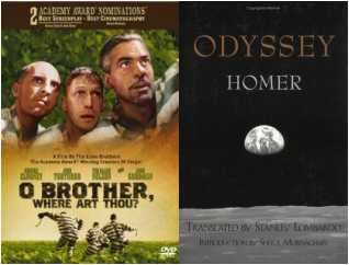 oddysey vs oh brother O' brother, where art thou written by the coen brothers follows 3 characters, everett, pete, and delmar, on their journey after escaping from prison.